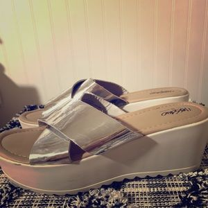 Silver/White platform shoes